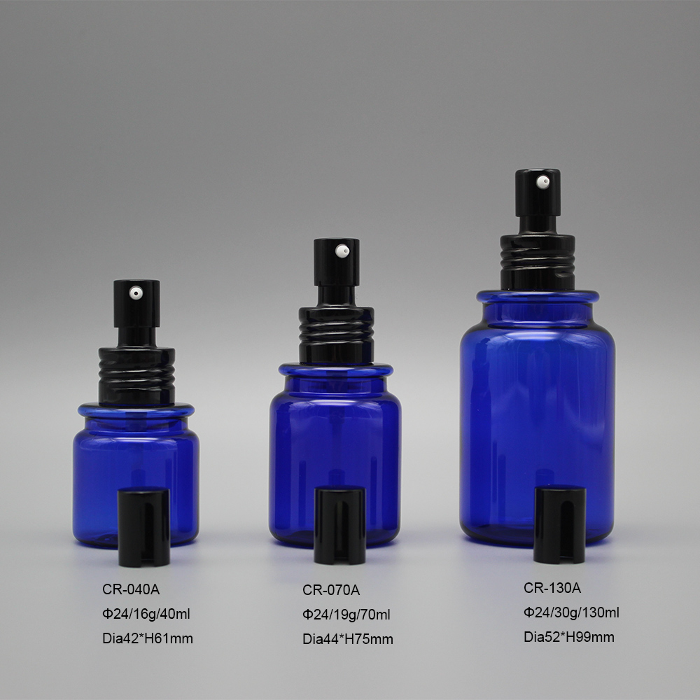 Wholesale 40ml 70ml 130ml blue night refill personalised perfume PETG plastic bottle with sprayer
