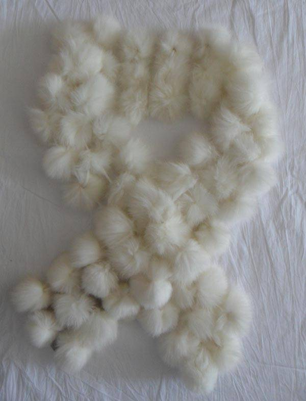 white rabbit fur ball scarf