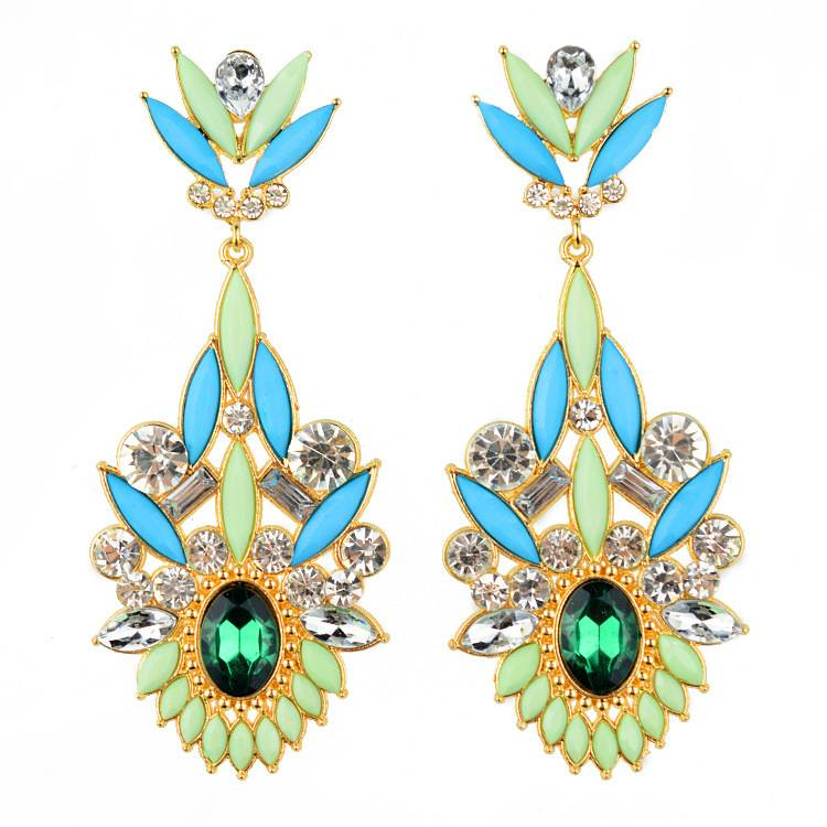 Fashion Women Gemstone Statement Dangle Earrings