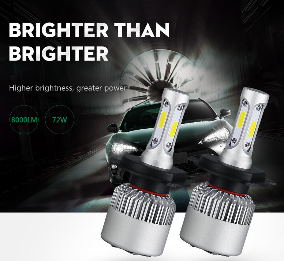 S2 led headlight H4 H7 H13 H11 H1 9005 9006 H3 9004 9007 9012 COB LED Headlight