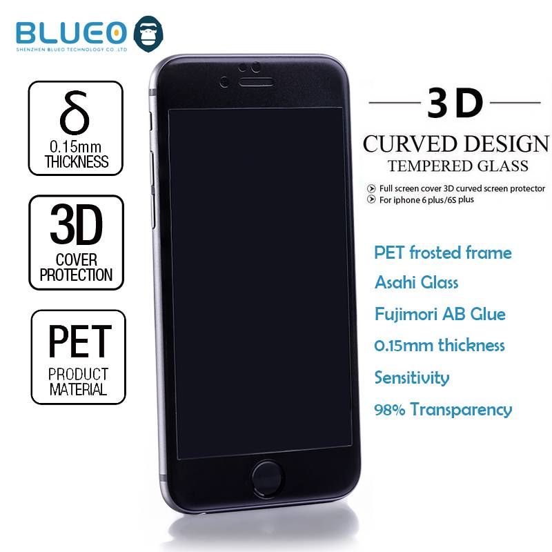 Blueo Nano Matte PET frame 3D Edge 0.2mm 9H HD for iphone6 s plus tempered glass screen protector