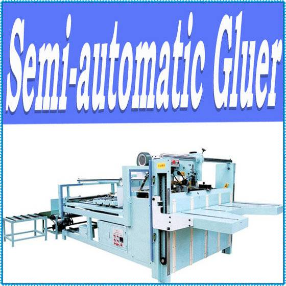 Semi auto carton box folder gluer machine
