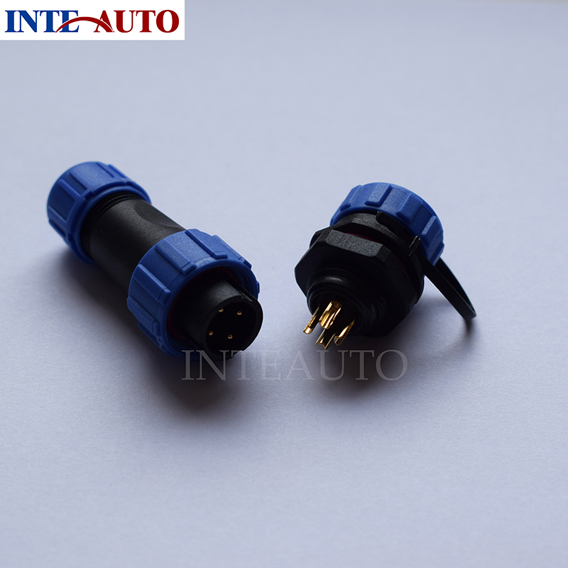 SP17 4 pins waterproof connector plug(female) and socket(Male), LED Power wire connector IP68
