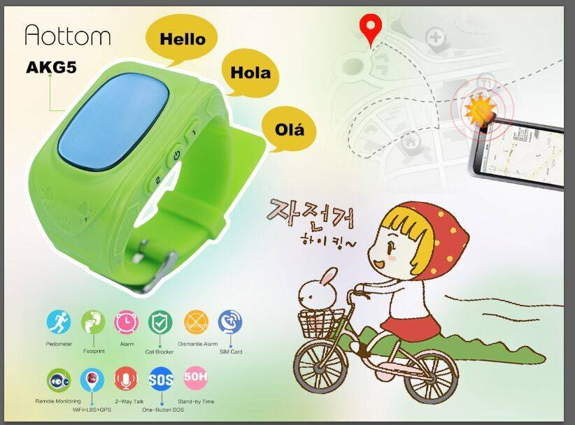 Bluetooth smart phone kids SOS/GPS watch