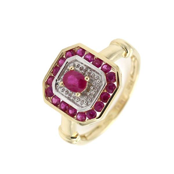 Ruby and Diamond Ring in 9k yellow gold