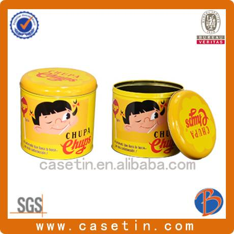 chinese manufacturer customized metal CMYK printing round liptop candy packaging tin box