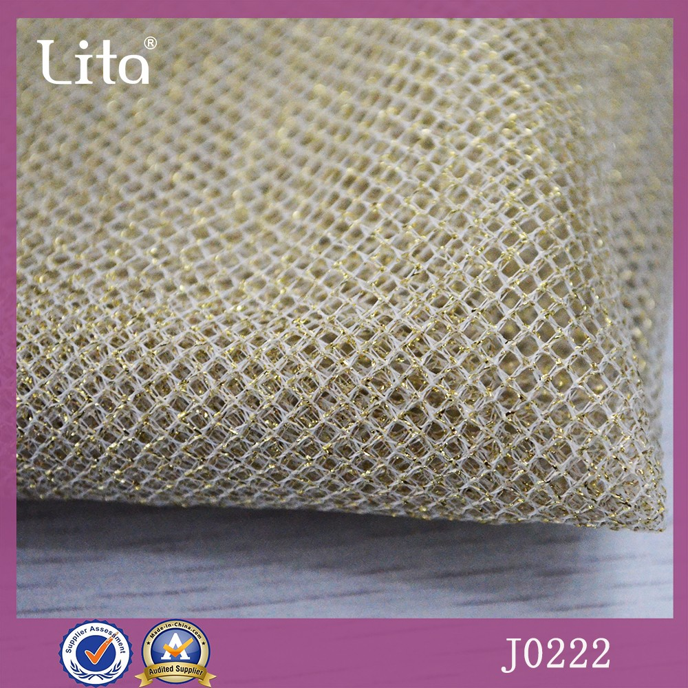 Lita J0222 Gold thread fashion apparel polyester netting fabric