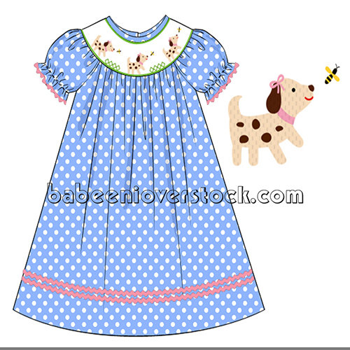 Lovely dog smocked bishop dress for girl