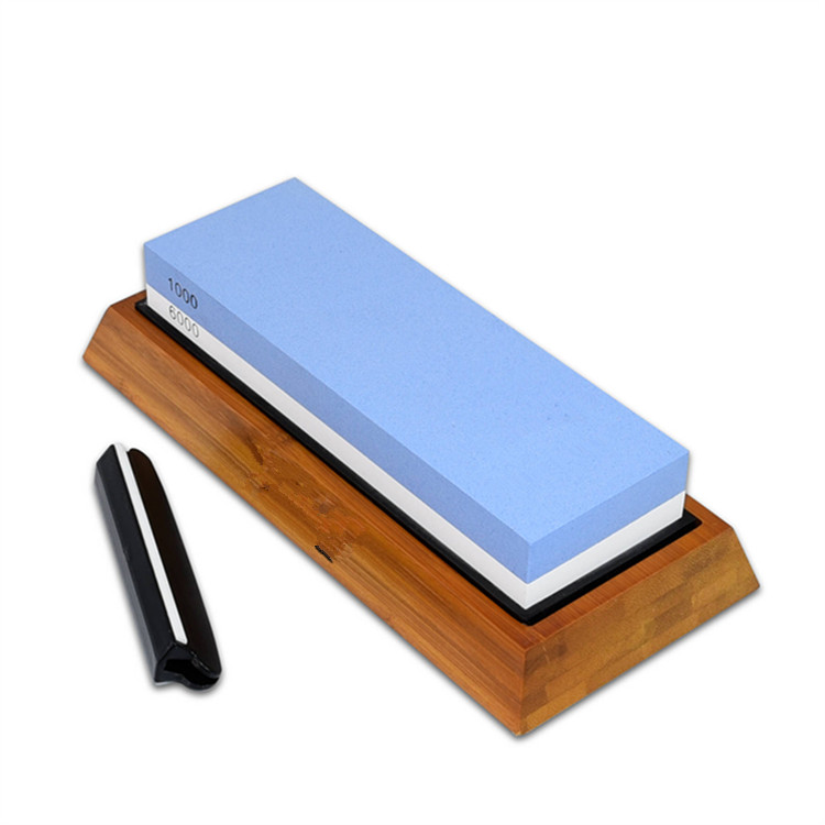 Double-Sided Knife Sharpening Stone, 1000/6000 Grit with Non-Slip Bamboo