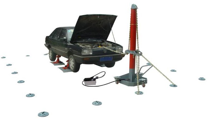 auto body floor straightening system with anchor pots on the floor