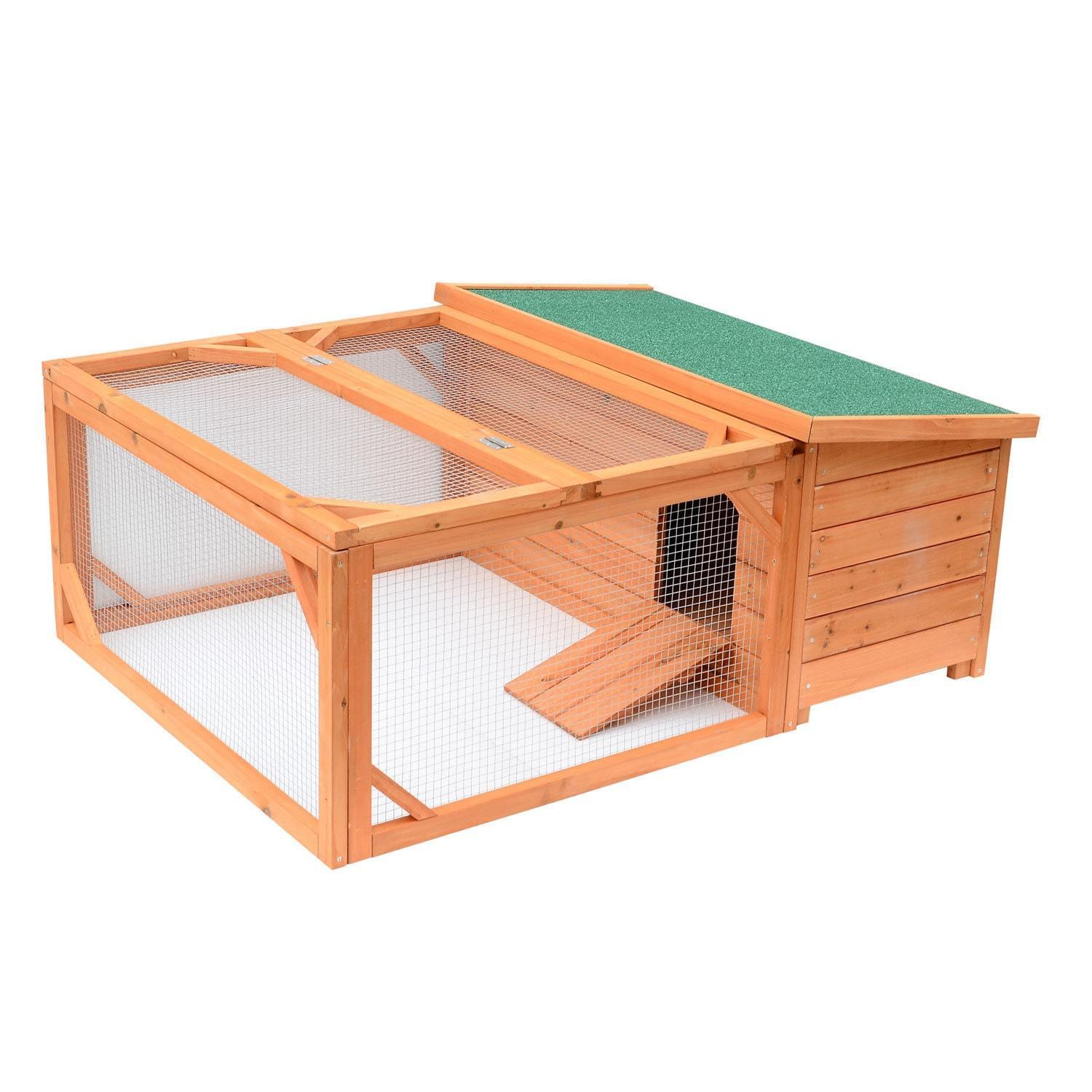 Small Wooden Bunny Rabbit and Guinea Pig/ Chicken Coop with Outdoor Run