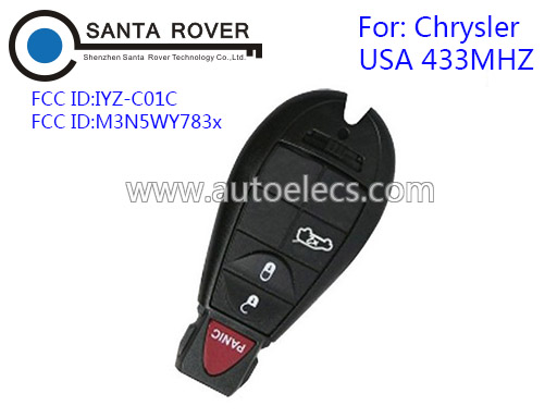 433Mhz USA model 4 buttons Chrysler 300c For Chrysler Dodge Jeep Remote Smart Key M3N5WY783X