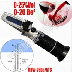 Wine Refractometer 0-25%Vol , 0-20 Be