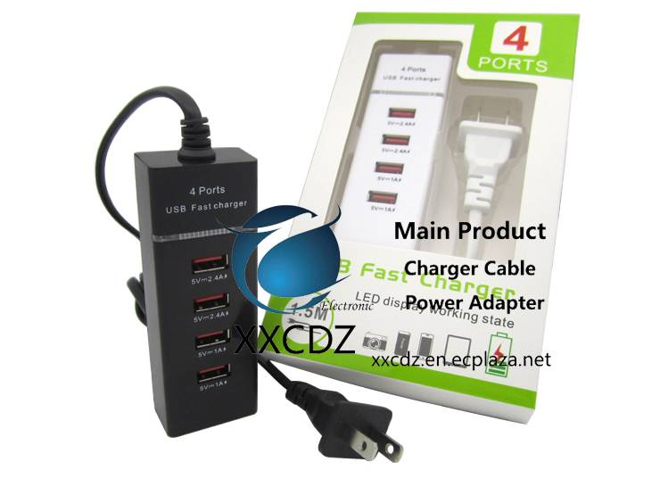 US 4-USB Ports Power Strip Fast Charging 5V2.4A 5V2.1A