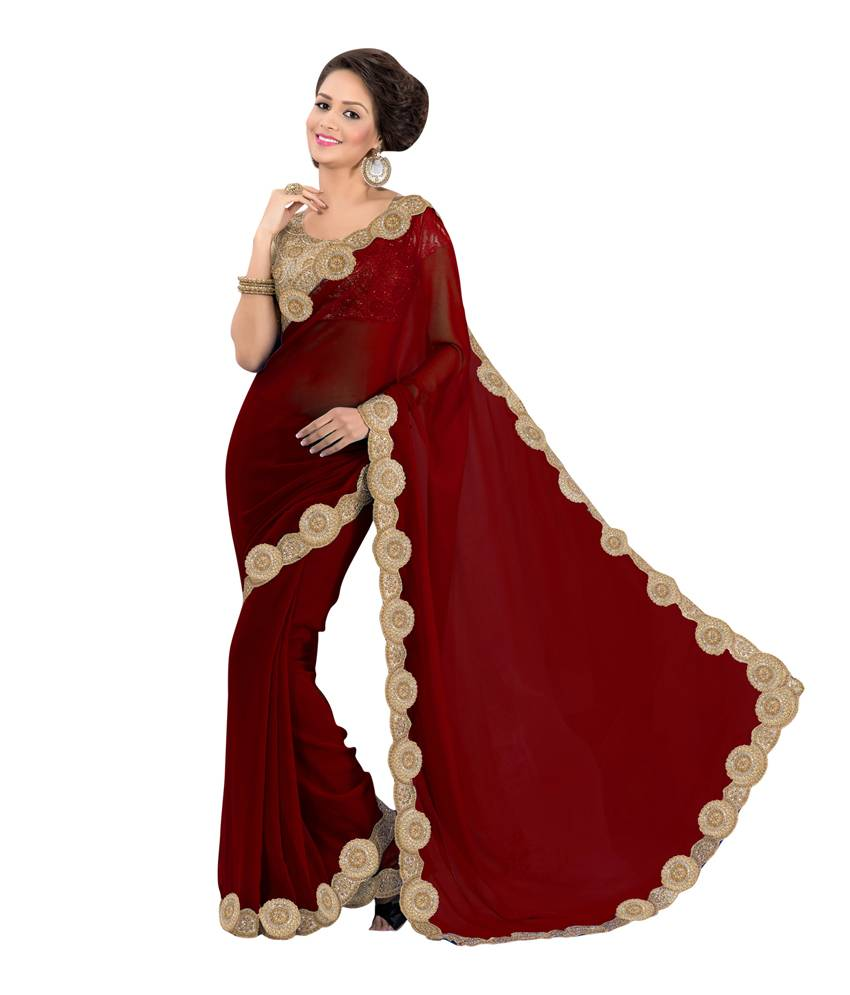 Hypnotex Solid Fashion Georgette Sari