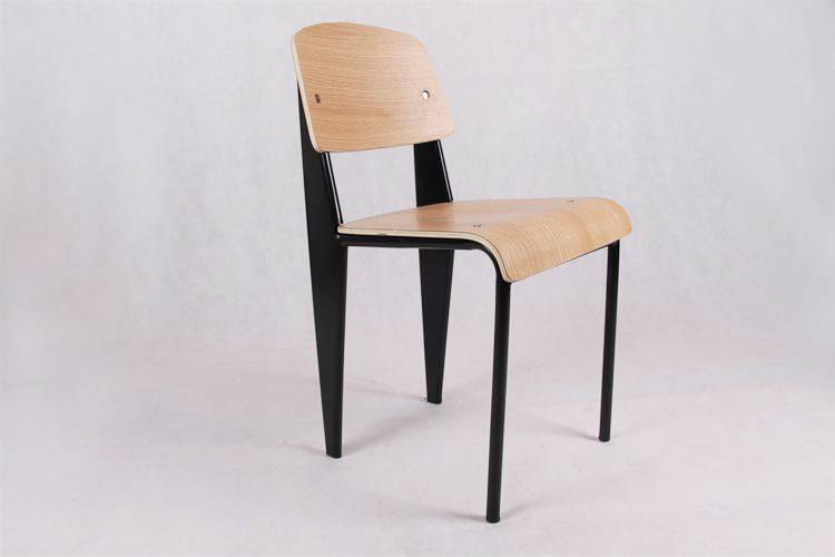 Modern Restaurant Replica Jean Prouve Standard Wood Dining Chairs