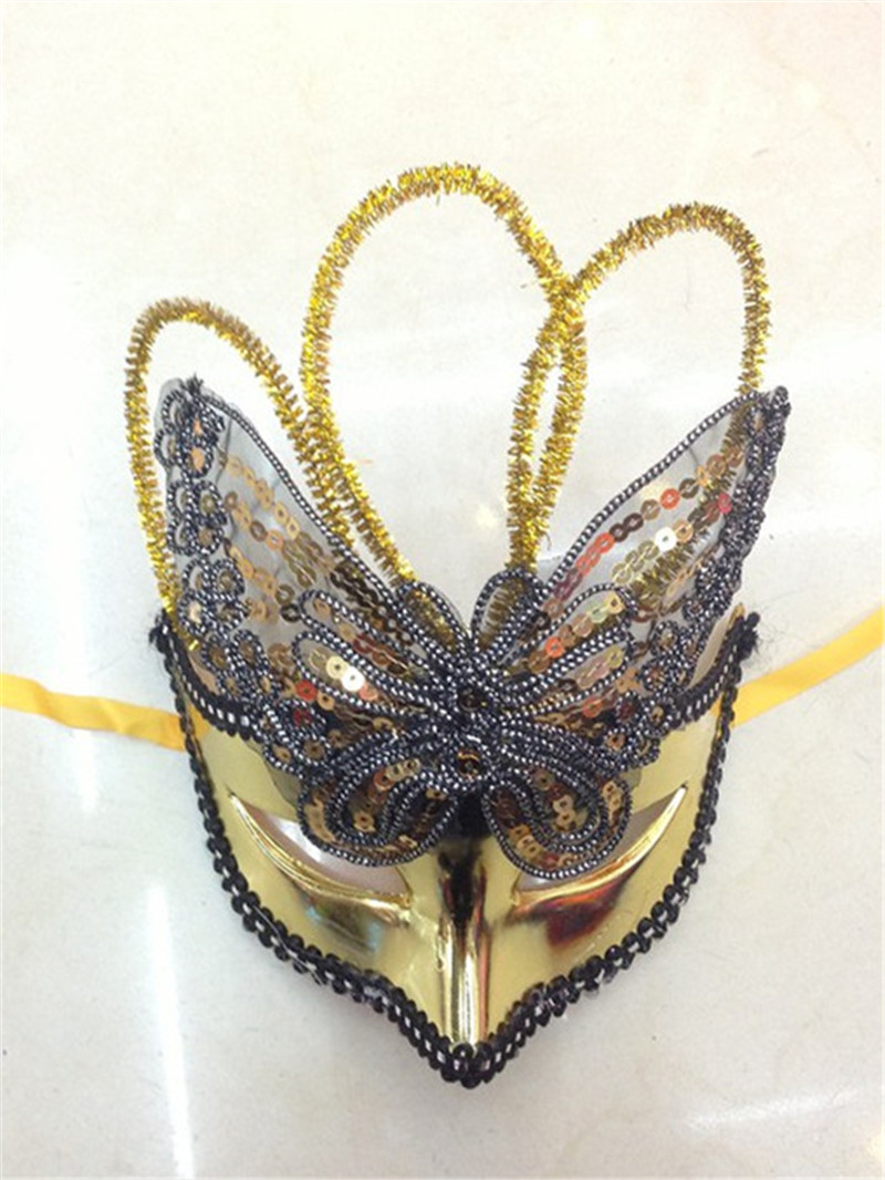 Multicolor Halloween Venetian Masquerade Party Hollow Sequins Butterfly Masks