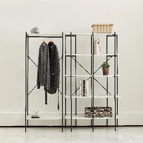 Modern furniture, metal / iron display shelving rack, bookshelf & wardrobe