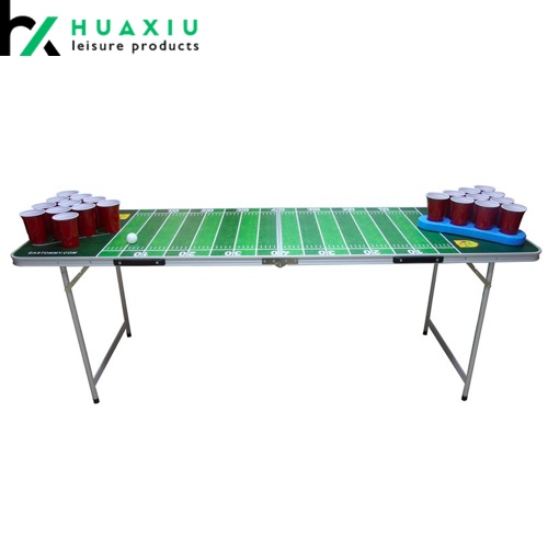 6.5FT Aluminum Wood Fold Table Tailgating Beer Pong Table