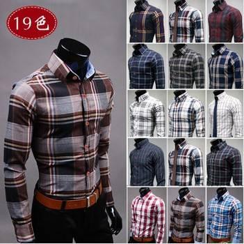 New fashion Men's shirt coloured plaid patterns men cotton shirt casual slim fit shirts me