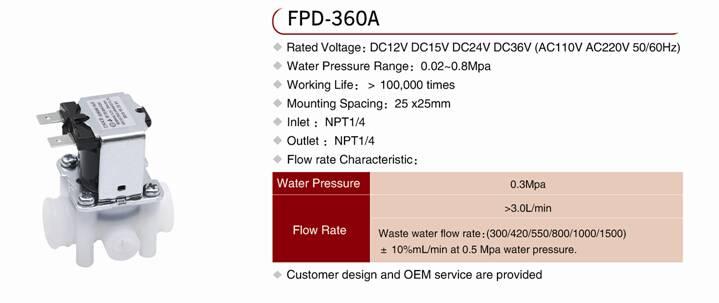 Waste water solenoid valve for RO machine
