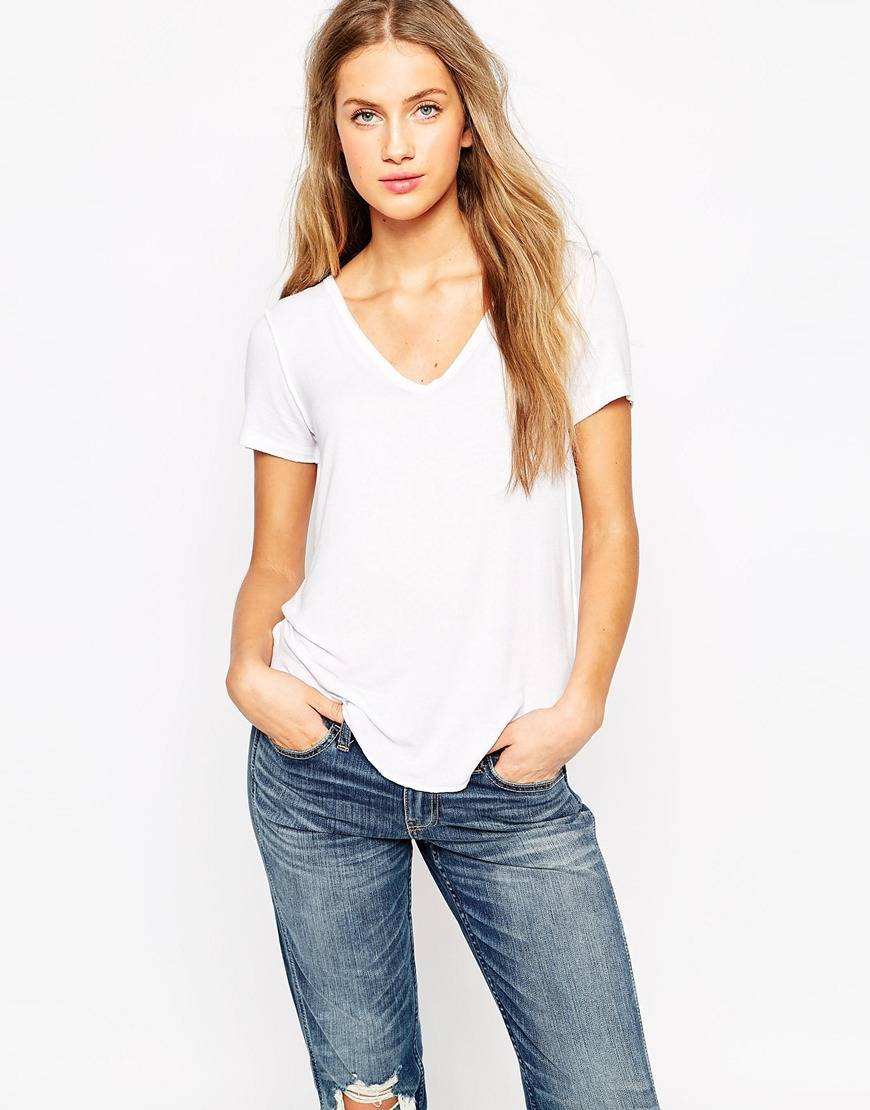 Relaxed fit V-neck soft-touch blank t-shirt knitted women t shirt