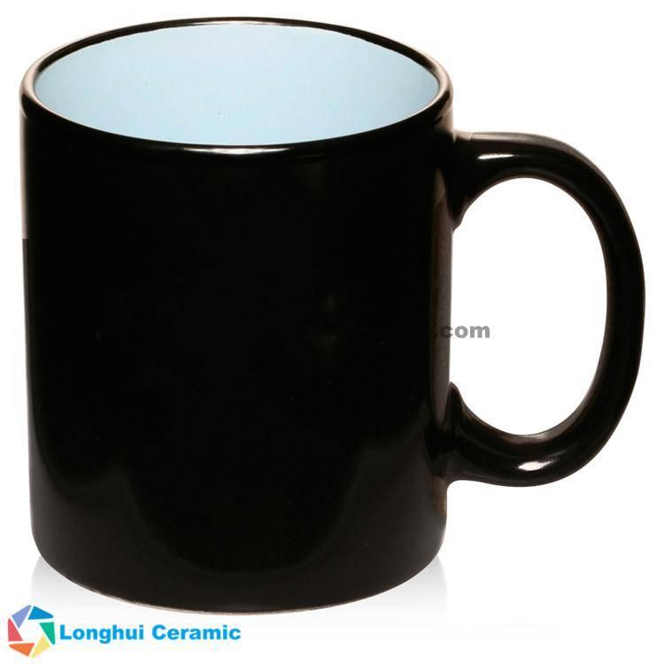 12oz Hilo black matte two-tone promotional ceramic vintage mug