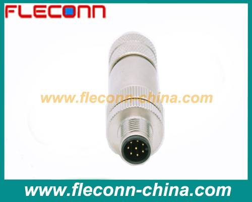 M12 connector 8pin shielded metal shell field Mountable Cable Plug