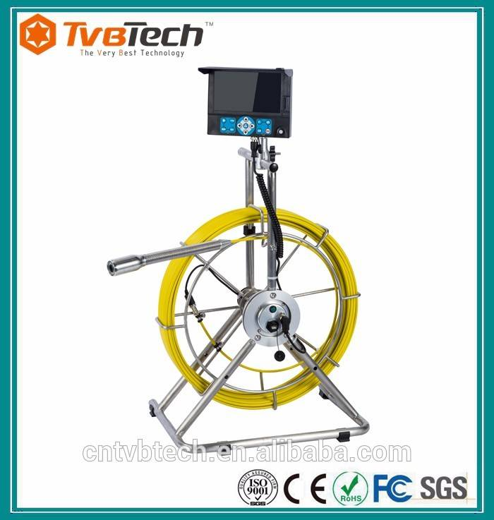 TVBTECH light weight design drain inspection endoscope with 38mm camera head and roller skid