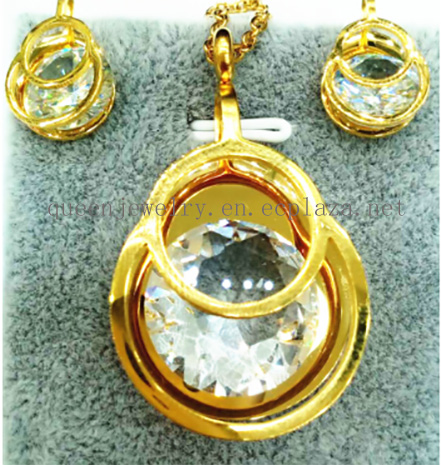 custom necklace AAA Cubic zircon Stainless steel Pendant Earring Gold Women Jewelry
