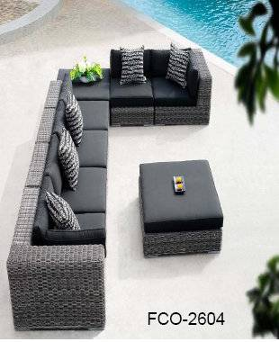 FCO-2604patio wicher sofa outdoor sectional rattan sofa set