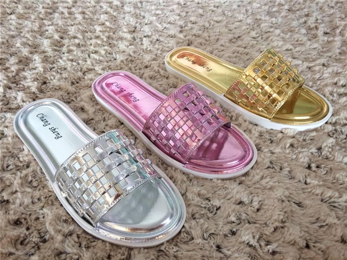 Metal Womens Open Toe Dress Slipper, Flat PVC Shoes