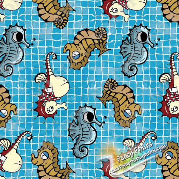 seahorse under blue background print for cotton lycra fabric