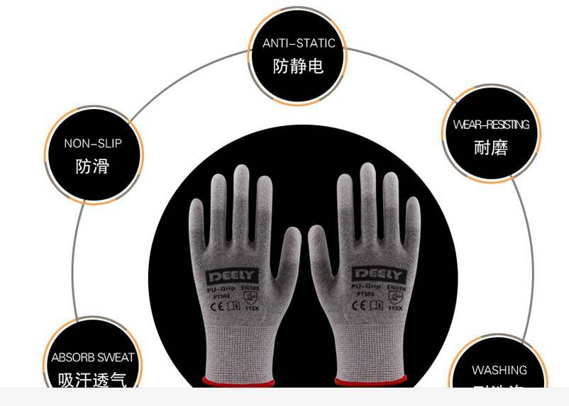 black pu coated gloves en388/black pu black nylon work gloves
