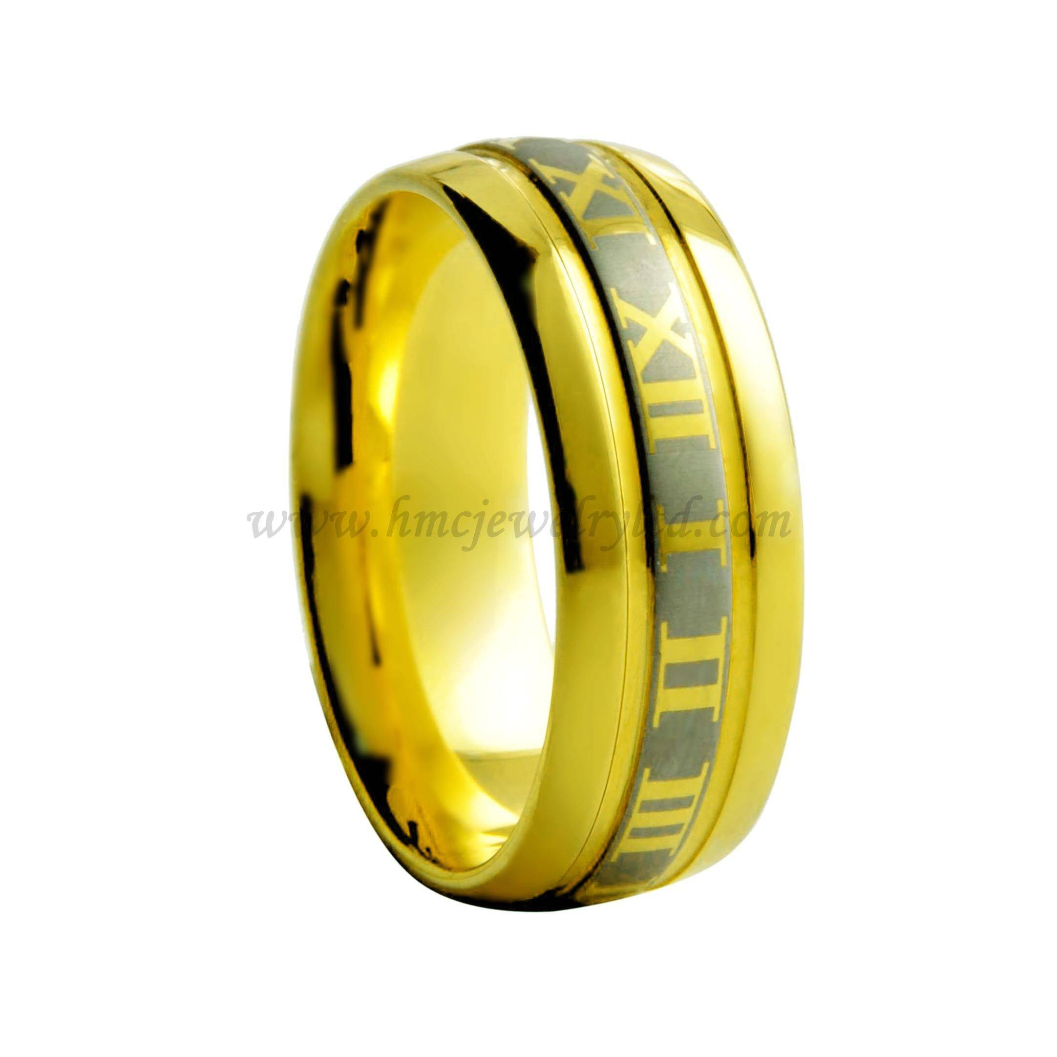 Vogue jewelry wedding ring, Roman numerals laser style gold tungsten carbide ring