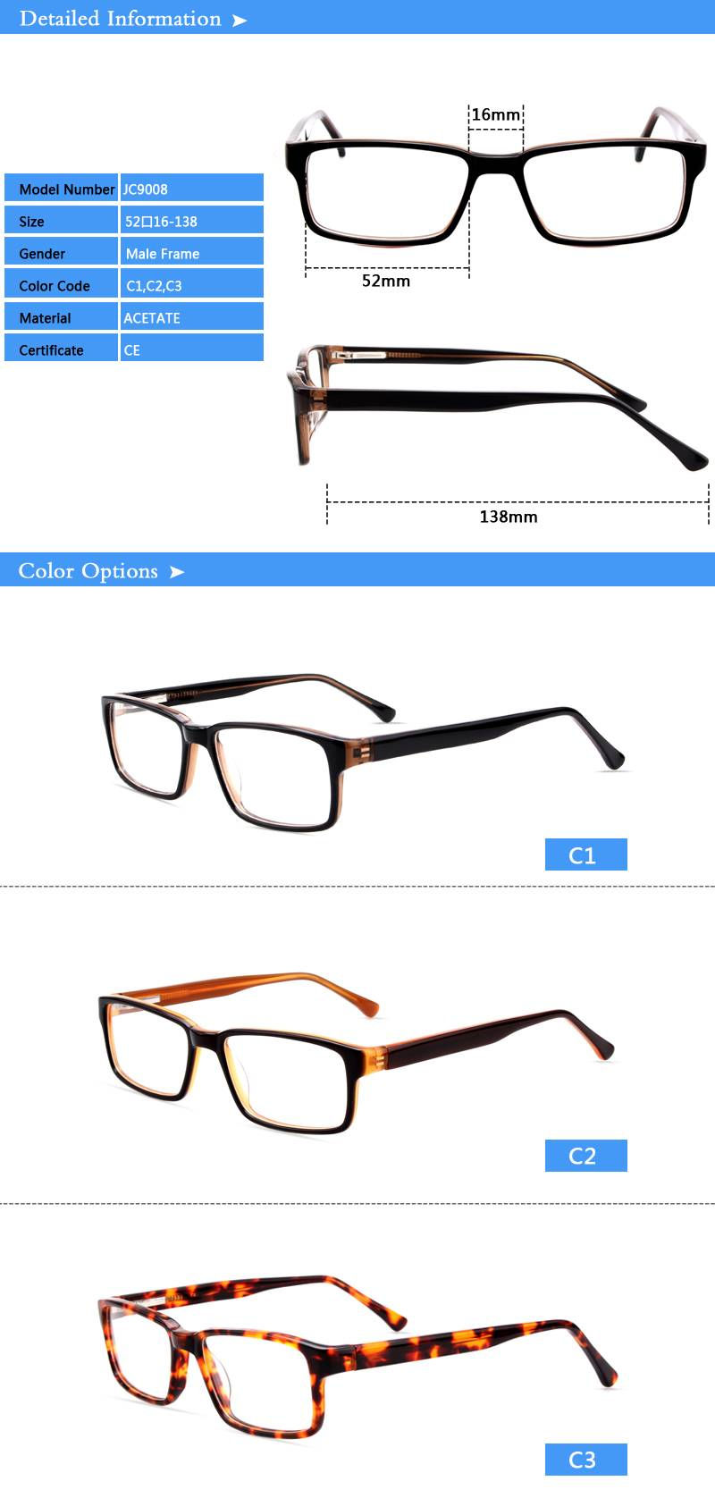 Fashion design acetate eyewear optical frame JC9008 ready in stock