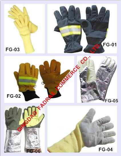 Aluminium Foil High Temperature-Resistant Gloves/ Fire Fighting Cow Leather Gloves / Fire, Heat, Cut