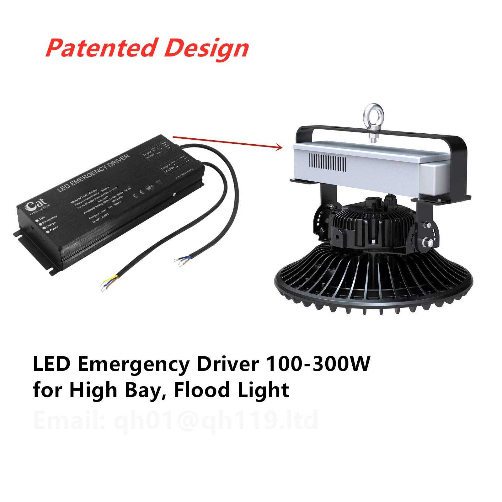 LED Emergency Driver 100-300W for High Bay Flood Light Panel Light Emergency Battery Pack