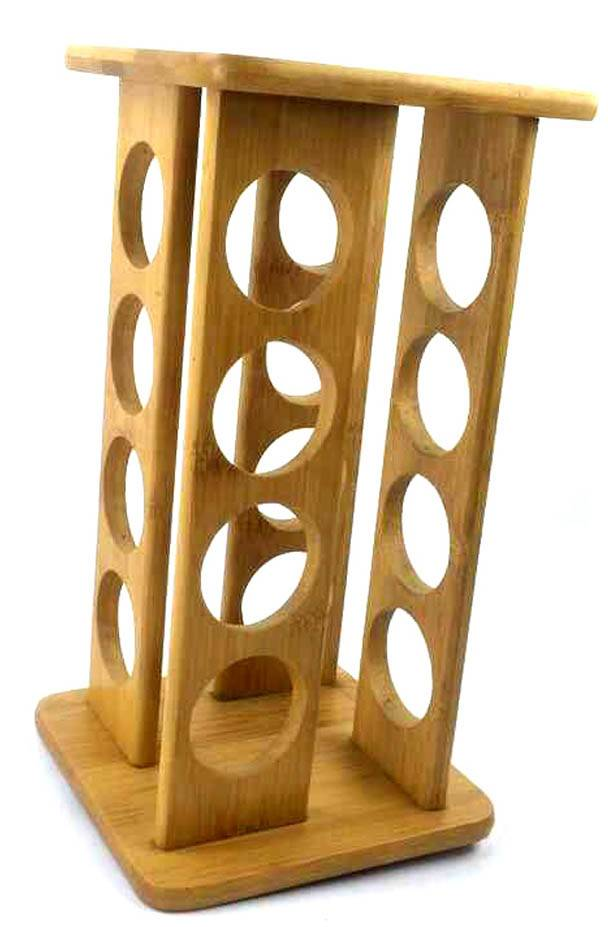 BH010/Rack Rotates Lazy Susan Bamboo 16 Filled Bottle Pepper Spice Rack