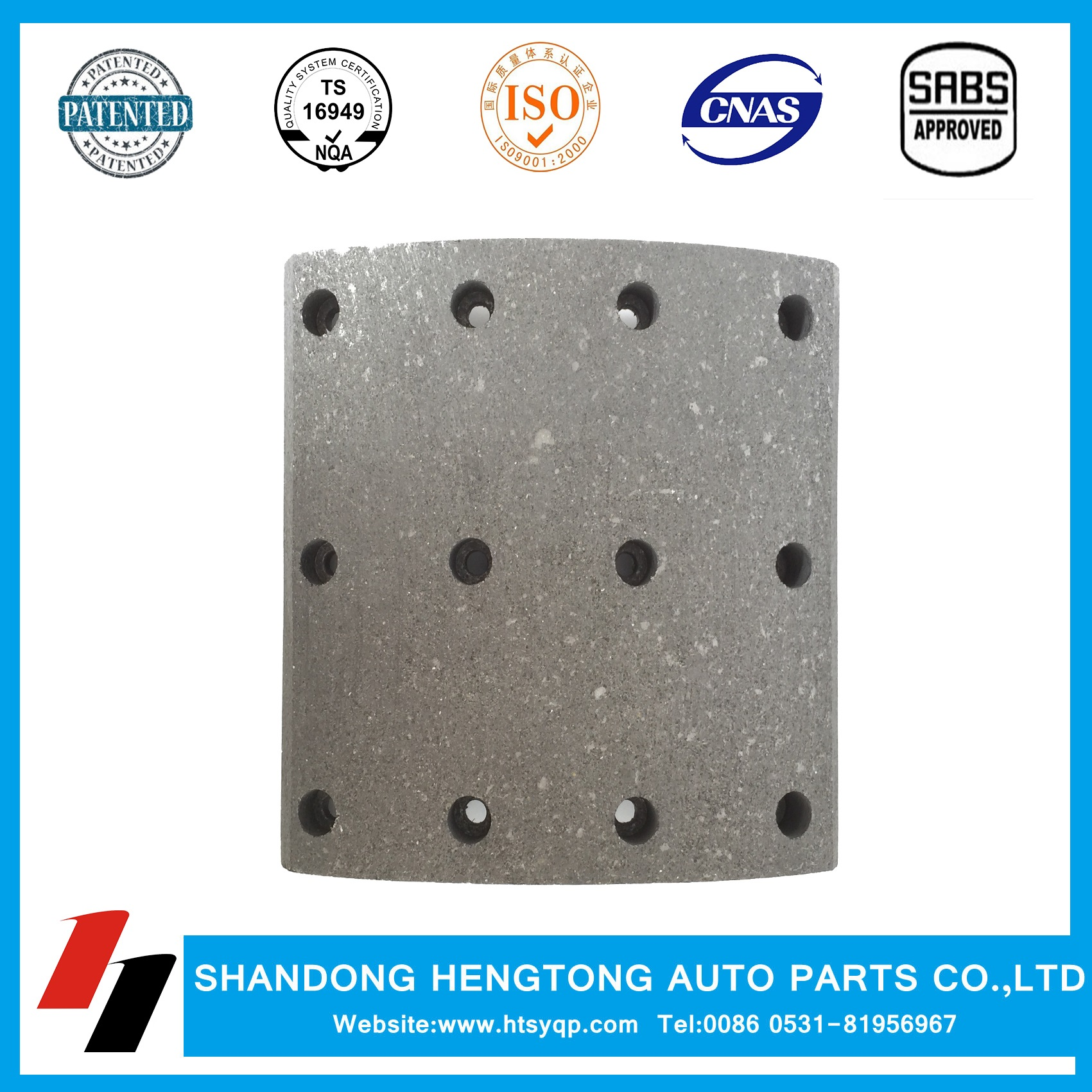 Scania Non-asbestos/Semi-metal Brake Lining with rivets for heavy duty truck
