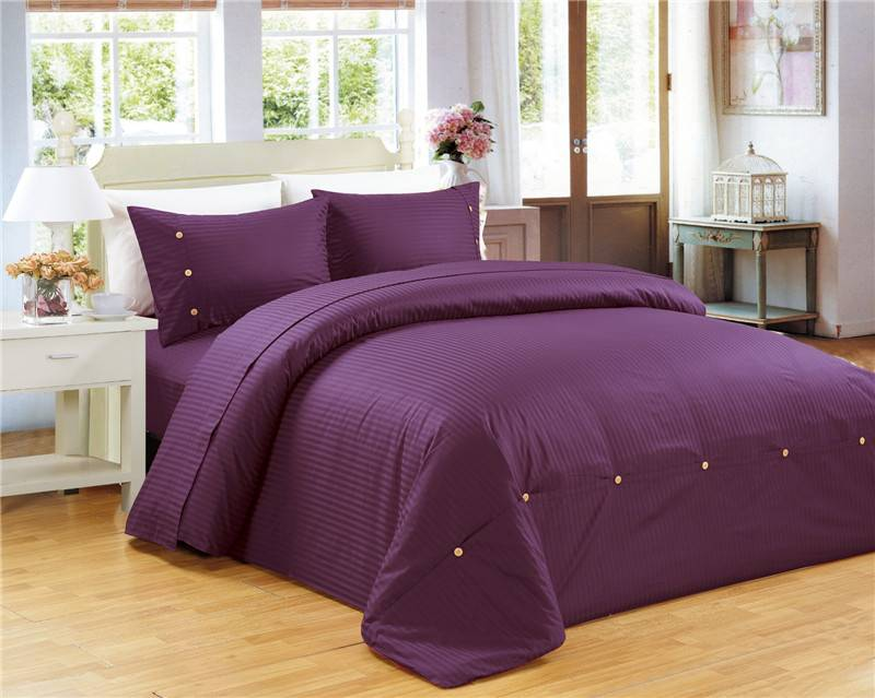 Sateen Stripe Duvet Cover Set Bedding Set