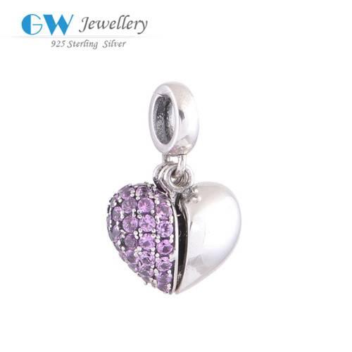 Fashion Jewelry 925 Sterling Silver Bulk Wholesale Pave Zircon Broken Heart Pendant Charms S050