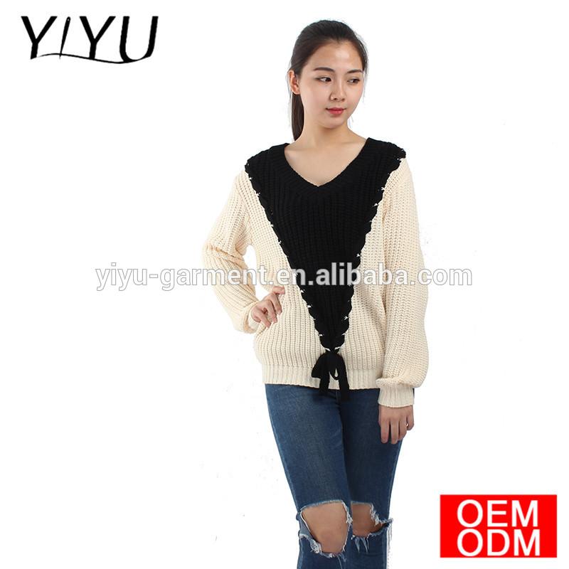 OEM service women v-neck bandage patchwork pattern pullover sweater