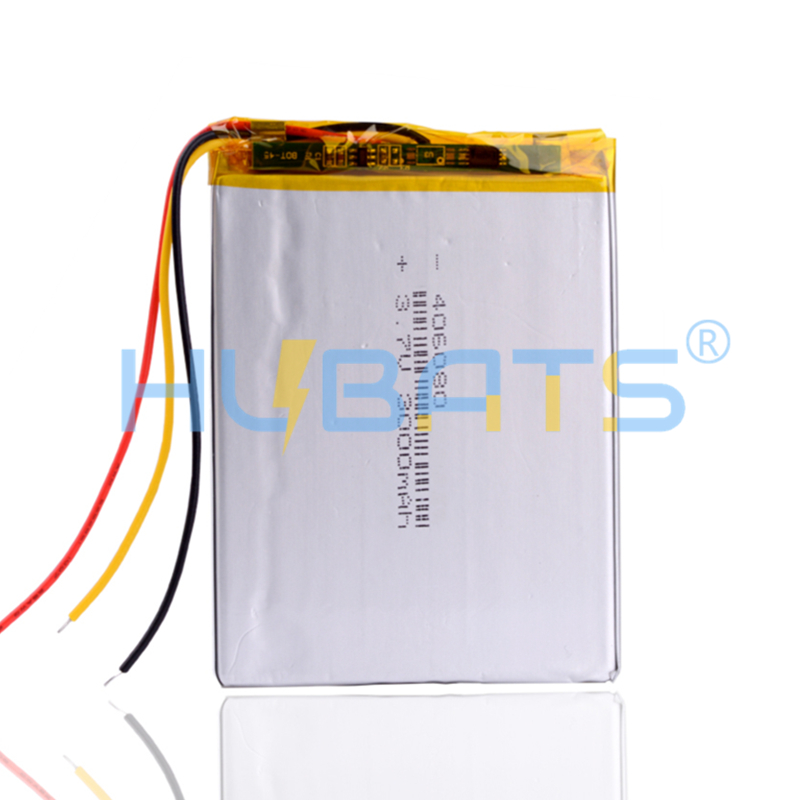 Hubats 406080 3000mAh 3.7V Lithium Polymer Battery with 3 wires for Onyx Book Darwin 3 Readers Books