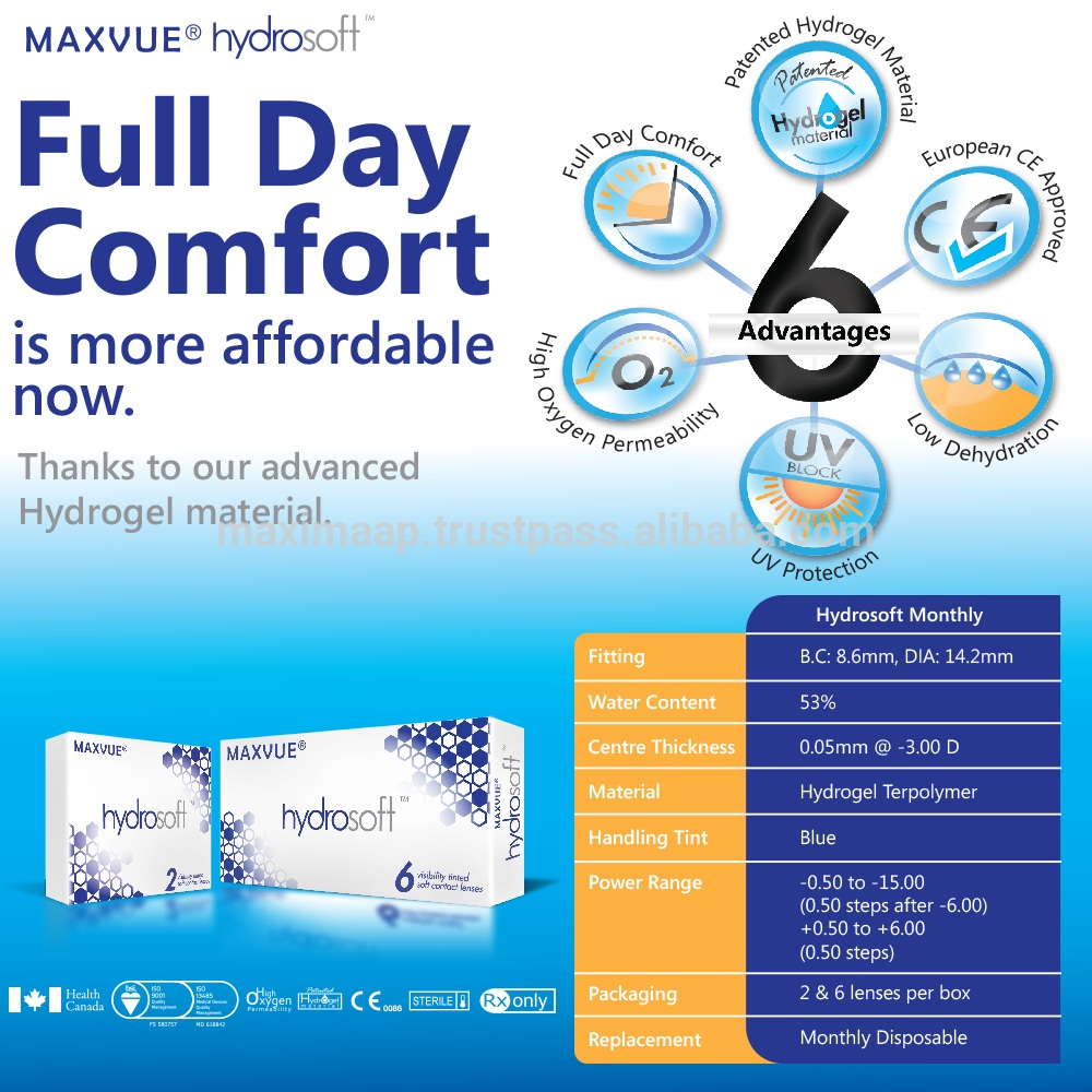 MAXVUE HYDROSOFT CLEAR CONTACT LENS 24 hours comfort