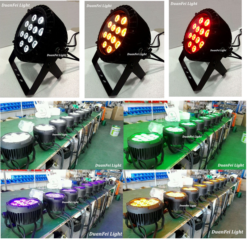 Stage light dmx 12x18w quad led par rgbwa uv 6in1 dj light ip 65 led par can