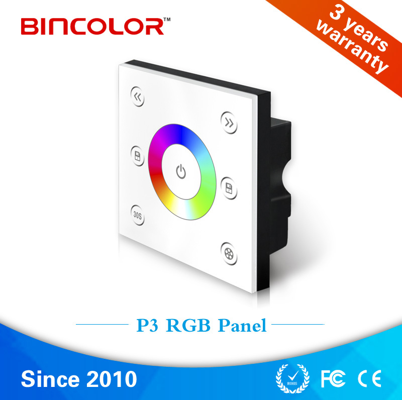 Bincolor P3 Wildly used white wall mounted led light touch panel rgb manual switch controller