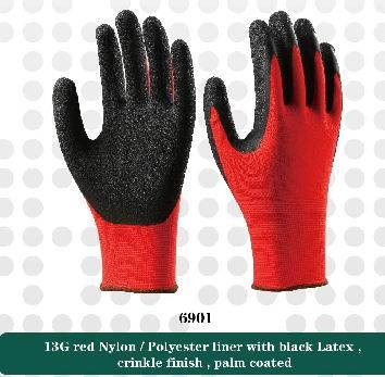 13G red nylon liner with black latex crinkle working safety gloves