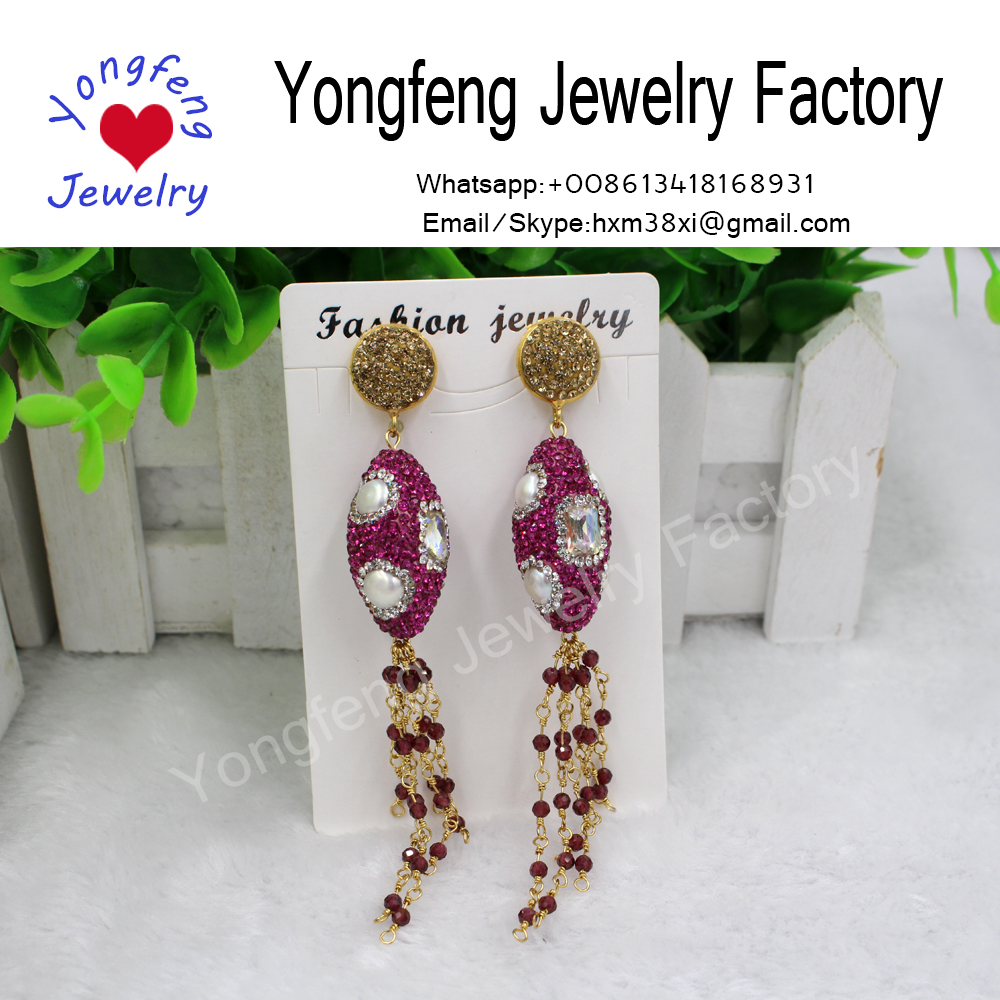 Wholesale freshwater pearl and crystal oval earrings,red pyrope beads tassel earrings