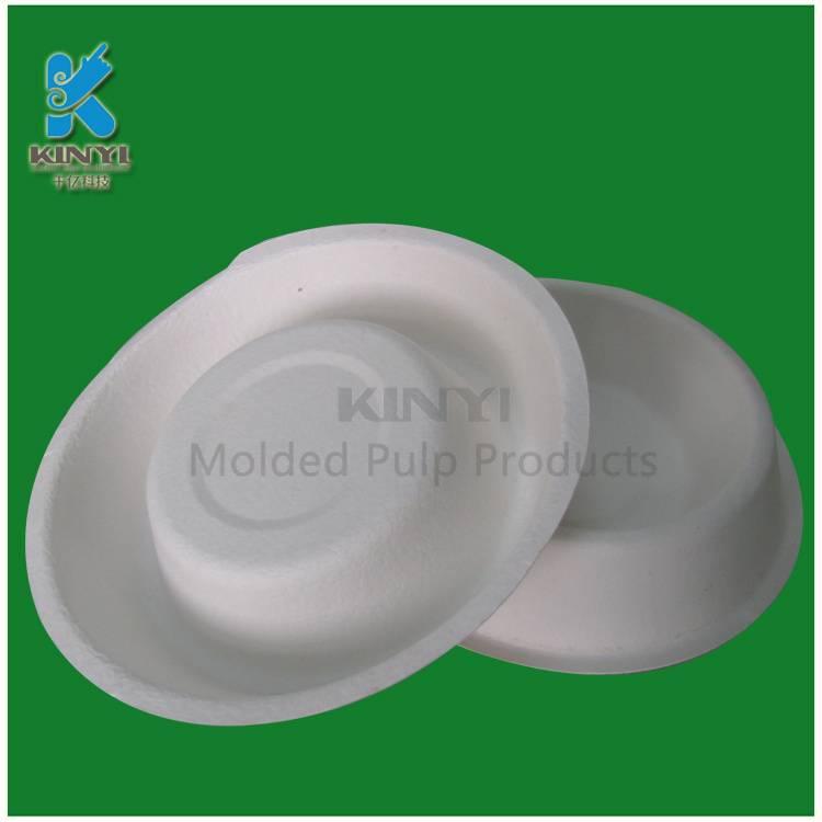 Biodegradable molded fiber pulp paper dog bowl